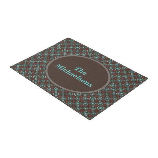 Mid Century Stars Turquoise and Red Personalised Doormat