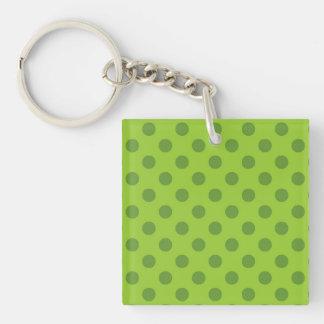 Mid green polka dot pattern key ring
