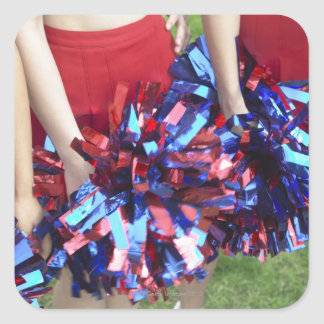 Mid Section View of Three Cheerleaders Square Sticker