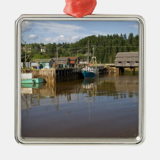 Mid tide at the Bay of Fundy at St. Martins, New Silver-Colored Square Decoration
