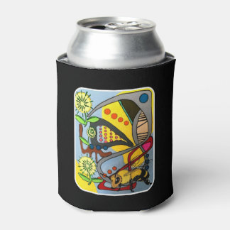'MidCentury Mod Abstract Garden Bee' painting on a Can Cooler