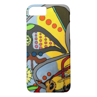 'MidCentury Mod Abstract Garden Bee' painting on a iPhone 8/7 Case
