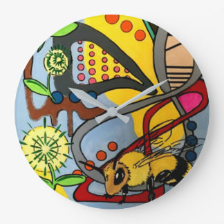 'MidCentury Mod Abstract Garden Bee' painting on a Large Clock