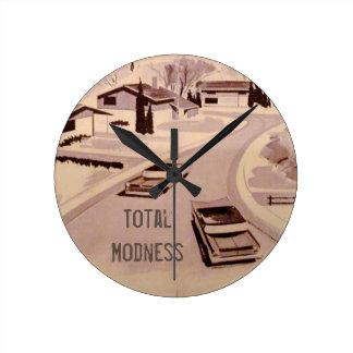 Midcentury Modern Architecture Round Clock