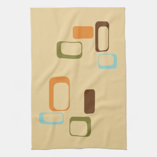 Midcentury modern geometric squares tea towel