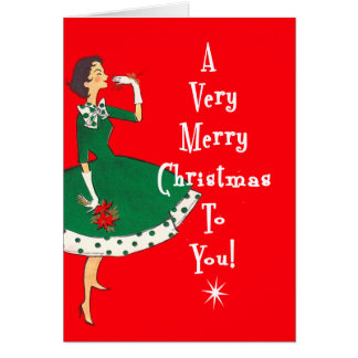 MidCentury Modern Single Girl Merry Christmas Red Greeting Card