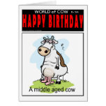 Middle Aged Cow Greeting Card