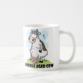 Middle Aged Cow Classic White Coffee Mug