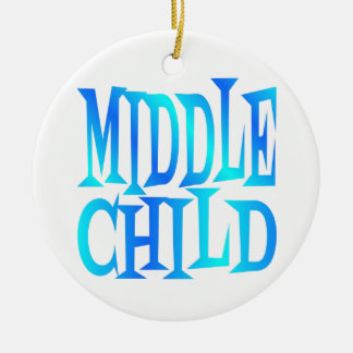 Middle Child Text in Blue Christmas Ornament