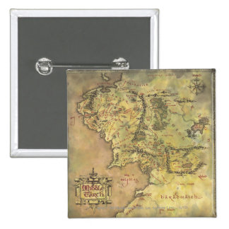 Middle Earth Map 15 Cm Square Badge