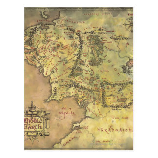 Middle Earth Map Post Card