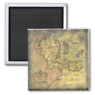 Middle Earth Map Square Magnet