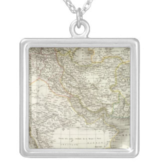 Middle East Atlas Map 2 Silver Plated Necklace