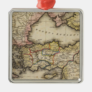 Middle East Atlas Map Silver-Colored Square Decoration