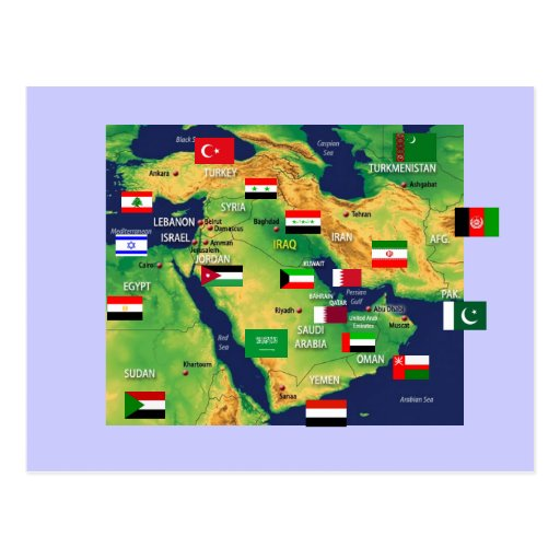 Middle-East map Postcard