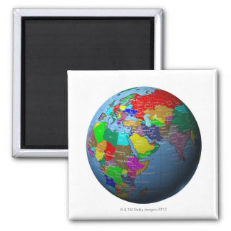 Middle East on Globe Square Magnet