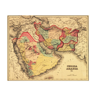 """Middle East """"Persia Arabia""""Panoramic Map Canvas Print"""