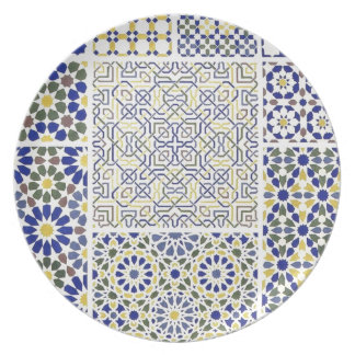 Middle Eastern Tile Patterns in Blue and Yellow Plate