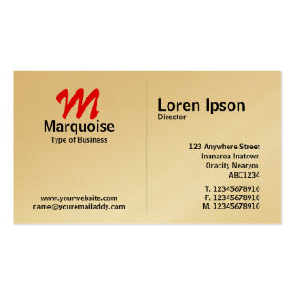 Middle Rule Monogram - Gold Card Business Cards
