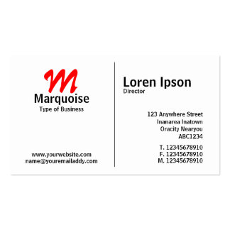 Middle Rule Monogram Pack Of Standard Business Cards
