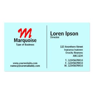 Middle Rule Monogram - Pale Blue (CCFFFF) Pack Of Standard Business Cards