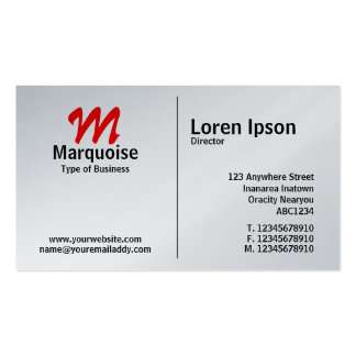 Middle Rule Monogram - Platinum Card Pack Of Standard Business Cards