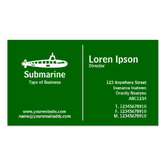 Middle Rule - Submarine - Grass Green Pack Of Standard Business Cards