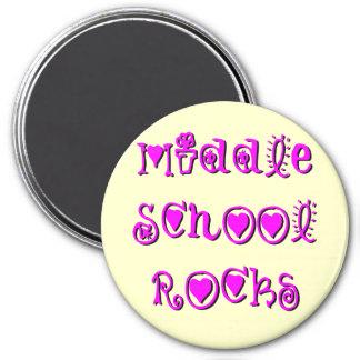 Middle School Rocks - Hearts Flowers Fridge Magnet