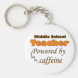 Middle school Teacher Powered by caffeine Basic Round Button Key Ring