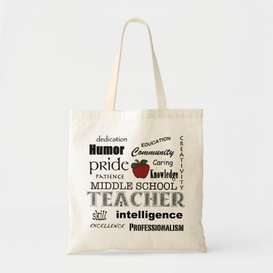 Middle School Teacher Pride-Attributes+Red Apple Tote Bag