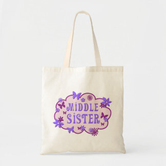 Middle Sister Pink Flower Butterfly Tote
