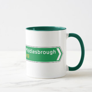 Middlesbrough, UK Road Sign Mug