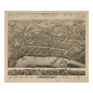 Middletown Connecticut 1877 Antique Panoramic Map Posters