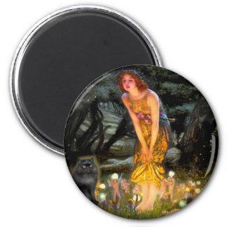 MidEve - black Persian cat 6 Cm Round Magnet