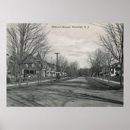 Midland Ave., Montclair, NJ 1908 Vintage Poster