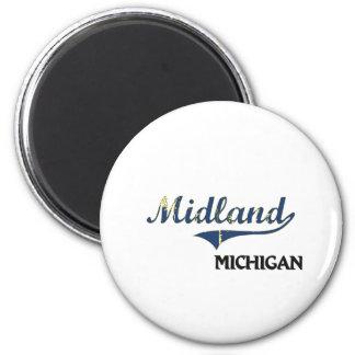 Midland Michigan City Classic 6 Cm Round Magnet