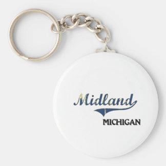 Midland Michigan City Classic Basic Round Button Key Ring