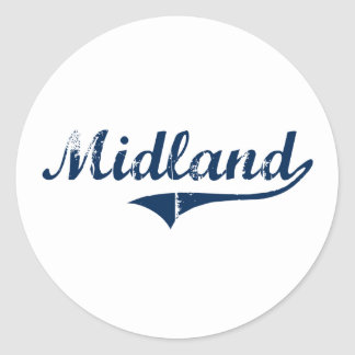 Midland Pennsylvania Classic Design Round Sticker