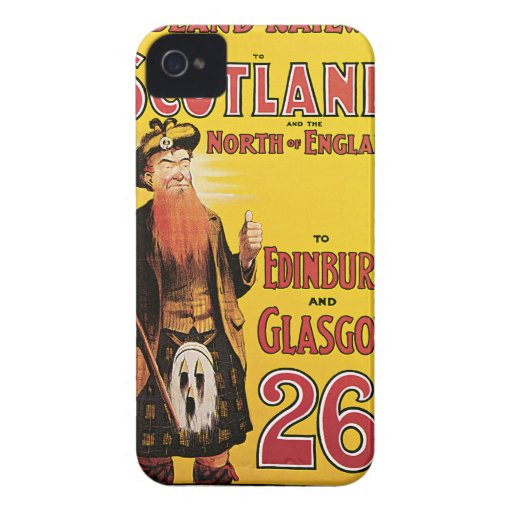 Midland Railway to Scotland Vintage Travel iPhone 4 Case-Mate Cases