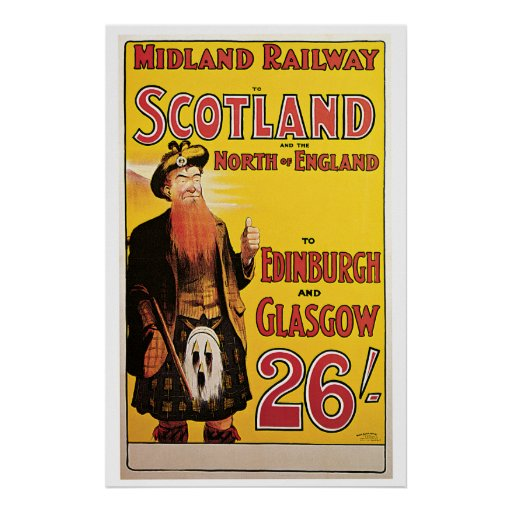 Midland Railway to Scotland Vintage Travel Poster