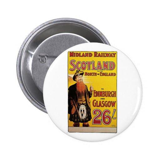 Midland Railway Vintage Travel Poster 6 Cm Round Badge