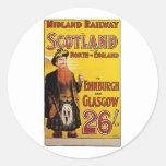Midland Railway Vintage Travel Poster Round Stickers