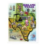 Midland Texas Cartoon Map Post Card