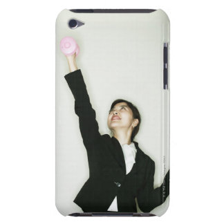 midle age businesswoman with dumbbell barely there iPod case