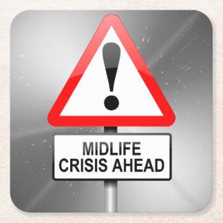 Midlife crisis warning. square paper coaster