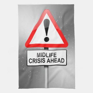 Midlife crisis warning. tea towel