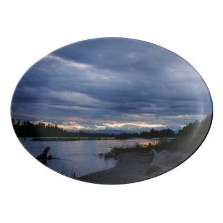 Midnight Alaska Sunset Porcelain Serving Platter