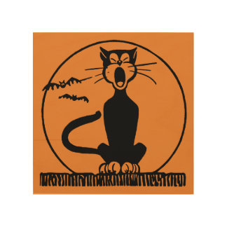 Midnight Alley Cat Wood Wall Art
