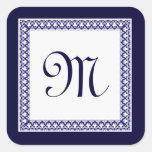 Midnight and White Ornate Monogram Square Sticker