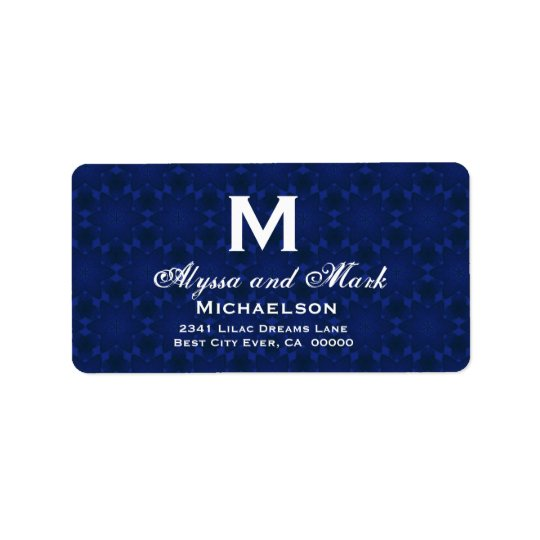 Midnight and White Wedding Monogram Address Label